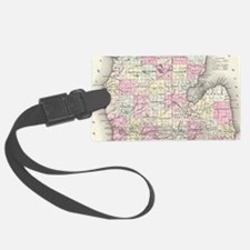 Vintage Map of Michigan (1855) Luggage Tag