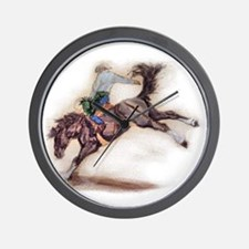 Saddle Bronc, Black Wall Clock