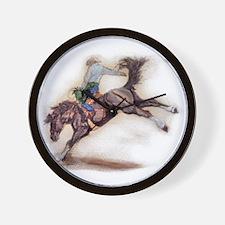 Saddle Bronc, Black Wall Clock