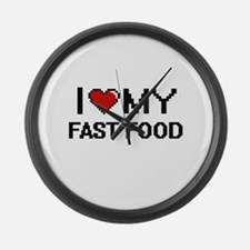 I Love My Fast Food Digital desig Large Wall Clock