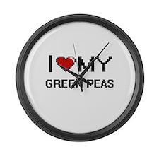 I Love My Green Peas Digital desi Large Wall Clock