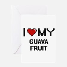 I Love My Guava Fruit Digital desig Greeting Cards
