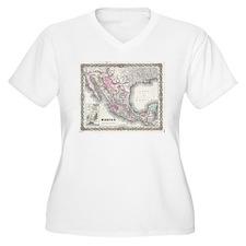 Vintage Map of Mexico (1855) Plus Size T-Shirt