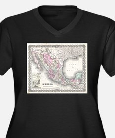 Vintage Map of Mexico (1855) Plus Size T-Shirt