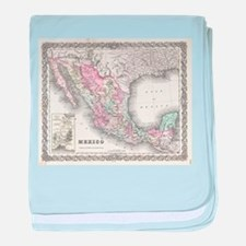 Vintage Map of Mexico (1855) baby blanket