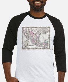 Vintage Map of Mexico (1855) Baseball Jersey