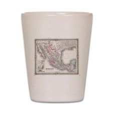 Vintage Map of Mexico (1855) Shot Glass