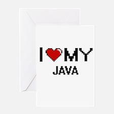 I Love My Java Digital design Greeting Cards