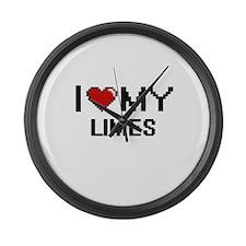 I Love My Limes Digital design Large Wall Clock