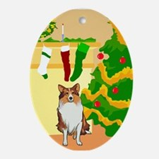 Collie / Sheltie Dog Christmas Oval Ornament