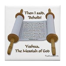 Hebrews 10:7 Tile Coaster