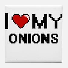 I Love My Onions Digital design Tile Coaster