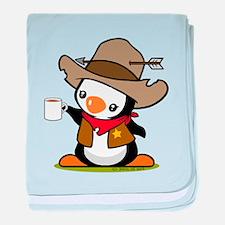 Cowboy Penguin Baby Blanket