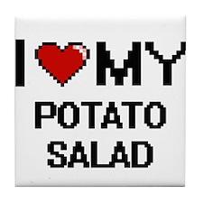 I Love My Potato Salad Digital design Tile Coaster