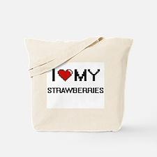 I Love My Strawberries Digital design Tote Bag