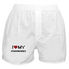 I Love My Strawberries Digital design Boxer Shorts