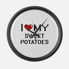 I Love My Sweet Potatoes Digital Large Wall Clock