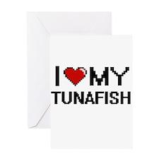I Love My Tunafish Digital design Greeting Cards