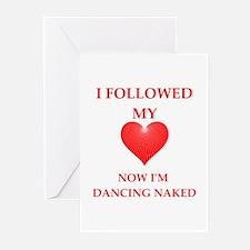 dancing naked Greeting Cards