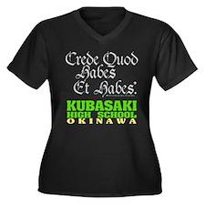 Motto Women's Plus Size V-Neck Dark T-Shirt