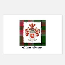 Clan Gray coat and tartan Postcards (Package of 8)