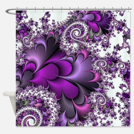 Purple Bliss Fractal Shower Curtain