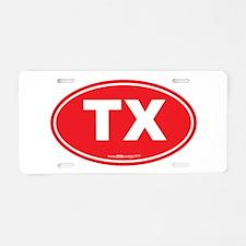 Texas TX Euro Oval Aluminum License Plate