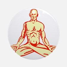 Man Lotus Position Asana Woodcut Round Ornament