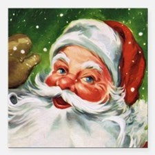 "Vintage Santa Face 1 Square Car Magnet 3"" x 3"""