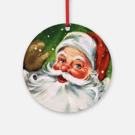 Vintage Santa Face 1 Round Ornament