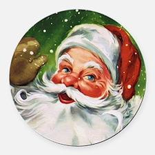 Vintage Santa Face 1 Round Car Magnet