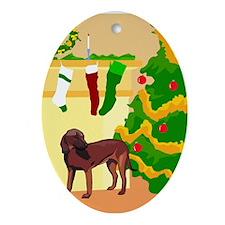 Cute Brown Dog Christmas Oval Ornament