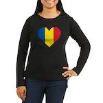 Romanian Heart Women's Long Sleeve Dark T-Shirt