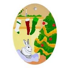 Bunny Rabbit Christmas Oval Ornament