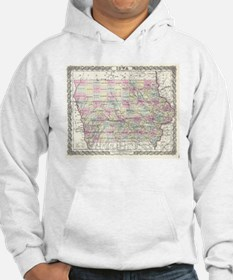 Vintage Map of Iowa (1855) Hoodie