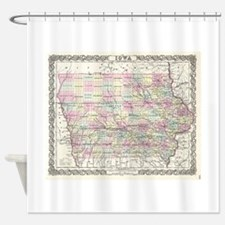 Vintage Map of Iowa (1855) Shower Curtain