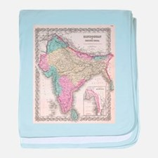 Vintage Map of India (1855) baby blanket
