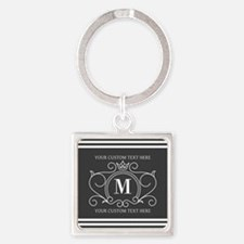 Gray Victorian Stripes Personalize Square Keychain