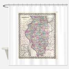Vintage Map of Illinois (1855) Shower Curtain