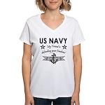 US Navy Friend Defending Women's V-Neck T-Shirt