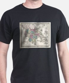 Vintage Map of Greece (1855) T-Shirt