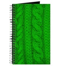 WOOL knit green cable design Journal