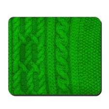 WOOL knit green cable design Mousepad