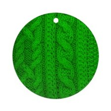 WOOL knit green cable design Round Ornament