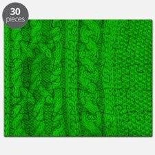 WOOL knit green cable design Puzzle