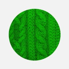 WOOL knit green cable design Button