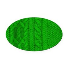 WOOL knit green cable design Oval Car Magnet