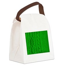 WOOL knit green cable design Canvas Lunch Bag