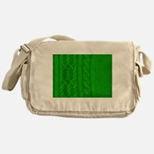WOOL knit green cable design Messenger Bag