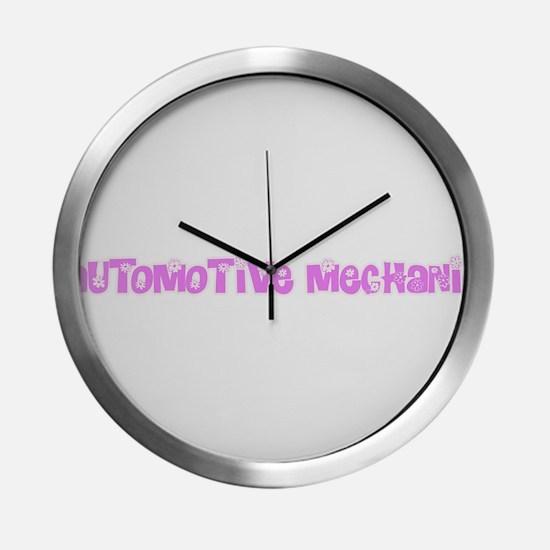 Automotive Mechanic Pink Flower Modern Wall Clock